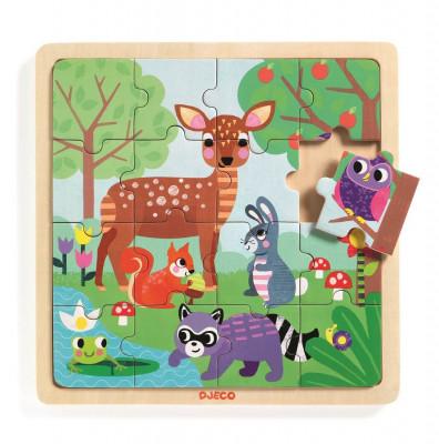 Drevené puzzle – V lese – 16 ks