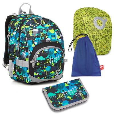 Sada pre školáka KIMI 18011 B SET LARGE - Školská taška, Vrecko na prezuvky, Pláštenka na batoh, Školský peračník
