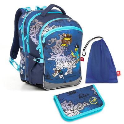 Set pre školáka COCO 180015 B SET MEDIUM - Školská taška, Vrecko na prezuvky, Školský peračník