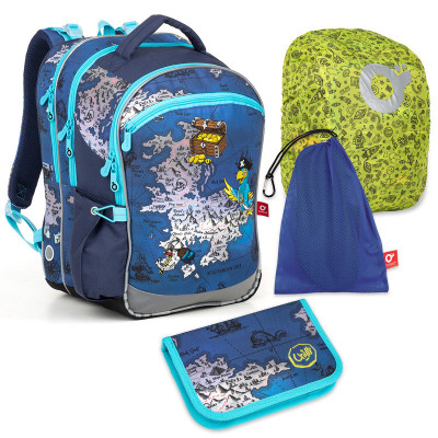 Set pre školáka COCO 180015 B SET LARGE - školská taška, vrecko na prezuvky, pláštenka na batoh, školský peračník