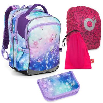 Set pre školáčku COCO 18044 G SET LARGE - školská taška, vrecko na prezuvky, pláštenka na batoh, školský peračník