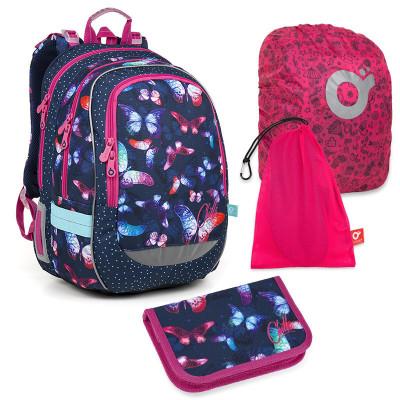 Set pre školáčku CODA 18045 G SET LARGE - školská taška, vrecko na prezuvky, pláštenka na batoh, školský peračník
