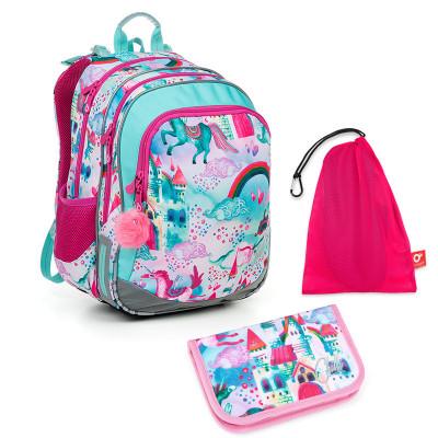 Set pre školáka ELLY 19004 G SET MEDIUM - Školská taška, Vrecko na prezuvky, Školský peračník