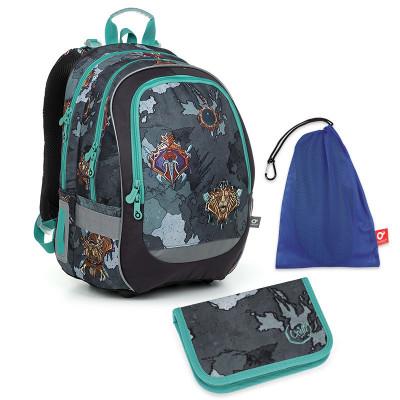 Set pre školáka CODA 19016 B SET MEDIUM - Školská taška, Vrecko na prezuvky, Školský peračník