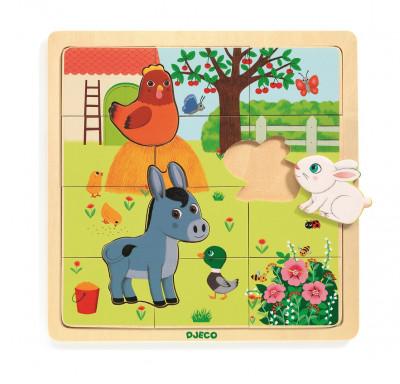 Drevené puzzle – Farma – 12 ks