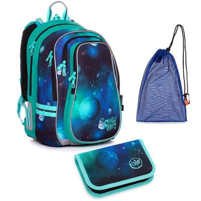 Set pre školáka LYNN 20019 B SET MEDIUM - školská taška, vrecko na prezuvky, školský peračník