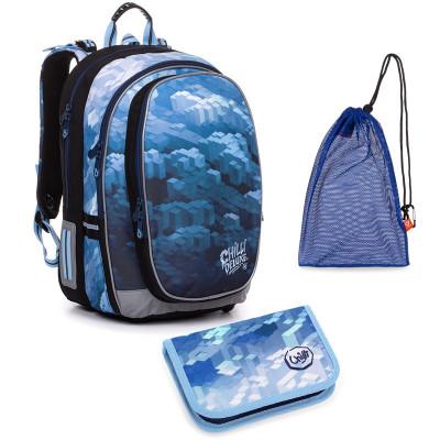 Set pre školáka MIRA 20018 B SET MEDIUM - školská taška, vrecko na prezuvky, školský peračník