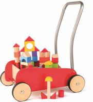 Drevený vozík s kovovým držadlom a s kockami