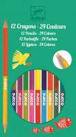 Farebné pastelky obojstranné – 12 ks