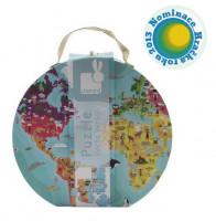 Detské obojstranné puzzle Zemeguľa v okrúhlom kufríku - 208 dielov