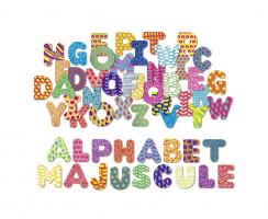 Drevené magnetky – tlačená abeceda – 56 ks