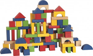 Stavebnica kocky farebné v kartóne – 100 ks