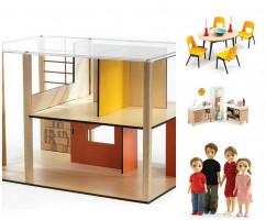 Domček pre bábiky – moderný domček – súprava s nábytkom a s rodinou Toma a Marion