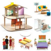 Domček pre bábiky – farebný domček – súprava s nábytkom a s rodinou Toma a Marion