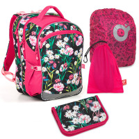 Set pre školáčku COCO 18004 G SET LARGE - školská taška, vrecko na prezuvky, pláštenka na batoh, školský peračník