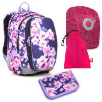 Sada pre školáčku MIRA 18019 G SET LARGE - školská taška, vrecko na prezuvky, pláštenka na batoh, školský peračník