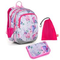 Sada pre školáčku ELLY 18007 G SET MEDIUM - Školská taška, Vrecko na prezuvky, Školský peračník