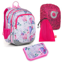 Sada pre školáčku ELLY 18007 G SET LARGE - školská taška, vrecko na prezuvky, pláštenka na batoh, školský peračník