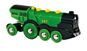 Brio - Mohutná elektrická zelená lokomotíva so svetlami