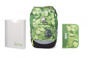 Školský set Ergobag prime zelený - batoh + peračník + dosky