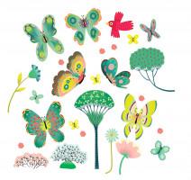 Samolepiaca dekorácia na sklo – Motýliky v záhrade