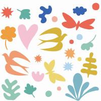 Samolepiace dekorácie na sklo – Vtáčiky a motýliky