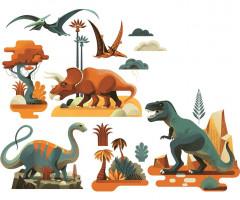 Samolepiace dekorácie na sklo – Dinosaury
