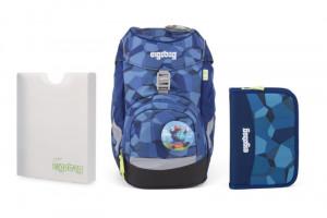 Školský set Ergobag prime Blue Stones 2019 - batoh + peračník + dosky