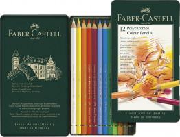 Farbičky Faber-Castell Polychromos v plechovej krabičke - 12 farieb