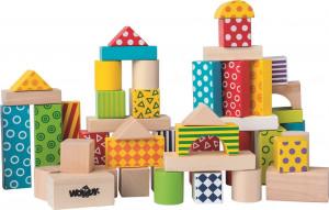 Woody Stavebnica kocky farebné v kartóne, 50 dielov