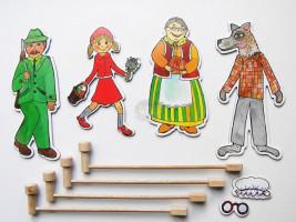 Marionetino -  Bábkový balíček s tyčkami - Červená karkulka