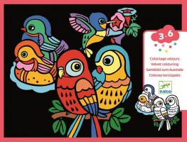 Zamatové maľovanie – Vtáčiky
