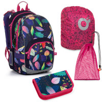 Set pre školáčku KIMI 20010 G SET LARGE školská taška, vrecko na prezuvky, pláštenka na batoh, školský peračník