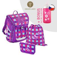 Školská aktovka - 3-dielny set, Baggymax Fabby Pink star + BONUS zdravá fľaša