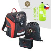Školská aktovka - 3-dielny set, Baggymax Trikky Pavúk + BONUS zdravá fľaša