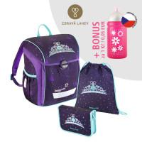 Školská aktovka - 3-dielny set, Baggymax Trikky Kráľovská koruna + BONUS zdravá fľaša