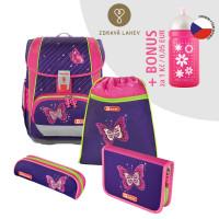 Školská aktovka LIGHT 2 - 4-dielny set, Step by Step Trblietavý motýl + zdravá fľaša za 0,05 EUR
