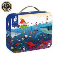 Detské puzzle Svet pod vodou v okrúhlom kufríku - 100 dielov