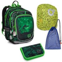 Sada pre školáka ENDY 20014 B SET LARGE - školská taška, vrecko na prezuvky, pláštenka na batoh, školský peračník