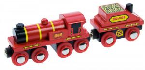 Bigjigs - Červená lokomotíva s tendrom