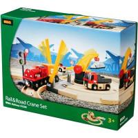 Brio - Vláčikodráha s nákladným vlakom, závorami a cestným prejazdom, 26 dielov