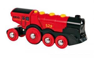 Brio - Mohutná elektrická červená lokomotíva so svetlami červená