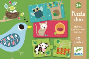 Puzzle Duo – Kde zvieratká bývajú (brlôžteky)