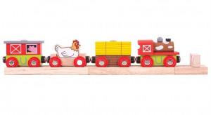 Bigjigs - farmársky vlak + 3 koľaje