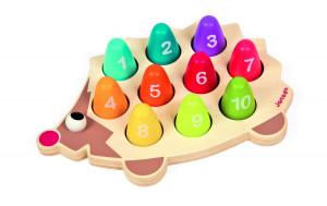 Drevená hračka na vkladanie Ježko - Čísla a farby